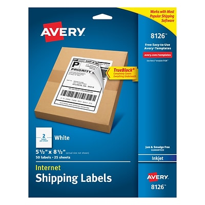 Avery Inkjet Internet Shipping Labels with TrueBlock, 5-1/2 x 8-1/2, White, 50/Pack (08126)