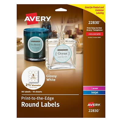 Avery Print-to-the-Edge Laser/Inkjet White Round Labels, Glossy, 9 Labels/Sheet, 10 Sheets/Pack (22830)
