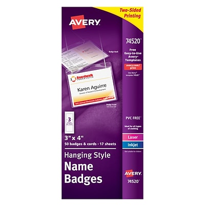 avery name tag holders 74520q plastic laser inkjet 3x4 50