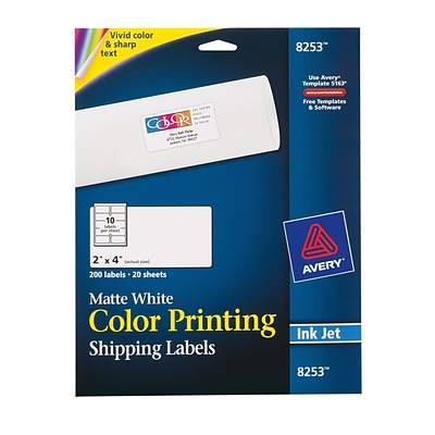 Avery® 8253 Color Printing Matte White Inkjet Shipping Labels, 2 x 4, 200/Box