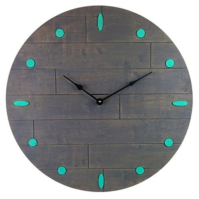 Cray Cray Supply Rustic Gray Clock with Teal Numeral Marks Large (CRYC074)