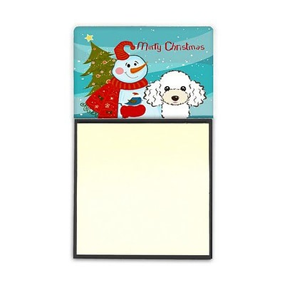Carolines Treasures  Snowman With White Poodle Sticky Note Holder (CRLT86677)