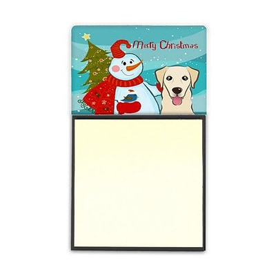 Carolines Treasures  Snowman With Golden Retriever Sticky Note Holder (CRLT86728)