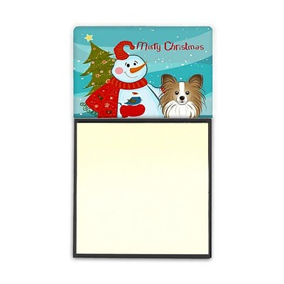 Carolines Treasures  Snowman With Papillon Sticky Note Holder (CRLT86768)