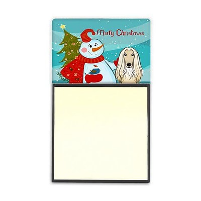 Carolines Treasures  Snowman With Afghan Hound Sticky Note Holder (CRLT86820)