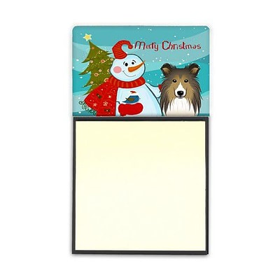Carolines Treasures  Snowman With Sheltie Sticky Note Holder (CRLT86842)
