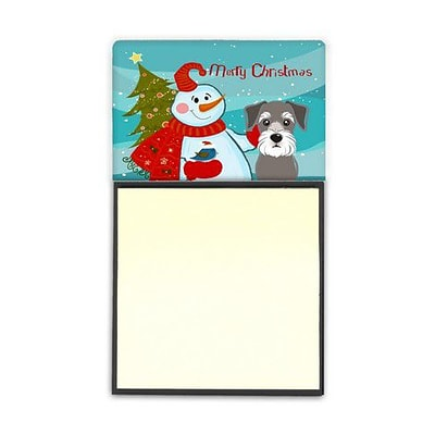 Carolines Treasures  Snowman With Schnauzer Sticky Note Holder (CRLT87214)