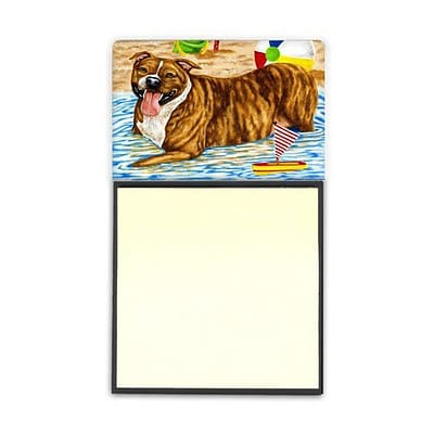 Carolines Treasures  Beach Bum Staffie Sticky Note Holder (CRLT88081)