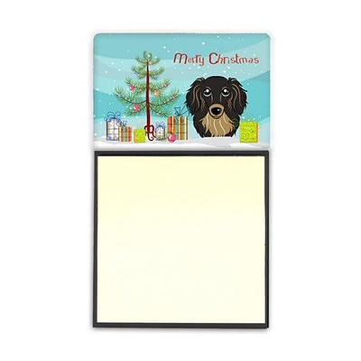 Carolines Treasures  Christmas Tree & Longhair Black & Tan Dachshund Sticky Note Holder (CRLT89510)