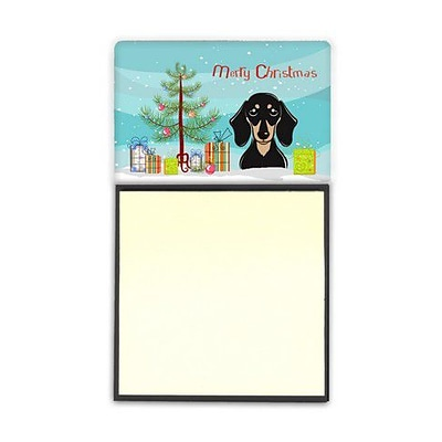 Carolines Treasures  Christmas Tree & Smooth Black & Tan Dachshund Sticky Note Holder (CRLT89528)
