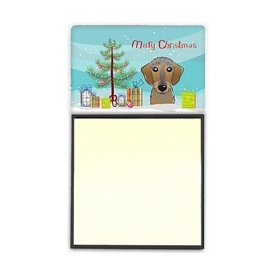 Carolines Treasures  Christmas Tree & Wirehaired Dachshund Sticky Note Holder (CRLT89682)