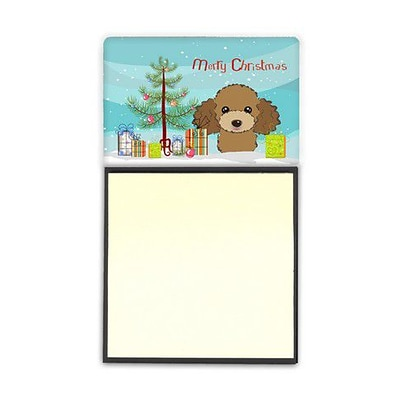 Carolines Treasures  Christmas Tree & Chocolate Brown Poodle Sticky Note Holder (CRLT89901)