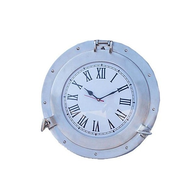 Handcrafted Decor  Brushed Nickel Deluxe Class Porthole Clock, 15 in. (HDFM2720)