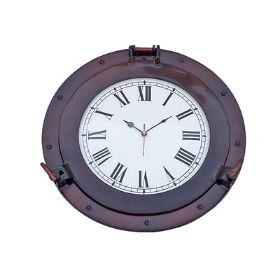 Handcrafted Decor  Antique Copper Decorative Ship Porthole Clock, 17 in. (HDFM3317)