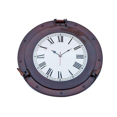 Handcrafted Decor  Antique Copper Deluxe Class Porthole Clock, 15 in. (HDFM3582)