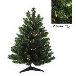 Darice 3 Green Artificial Christmas Tree with 100 Clear Lights and Stand