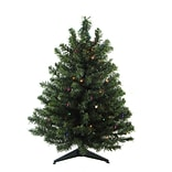Darice 2 Green Artificial Christmas Tree with 30 LED Multi-Color Lights and Stand