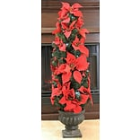 LB International 3 Red Artificial Poinsettia Potted Christmas Tree; Red