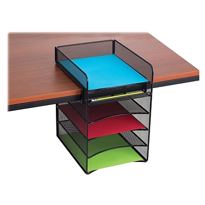 Safco® Onyx Mesh Horizontal Hanging Desk Storage, Black