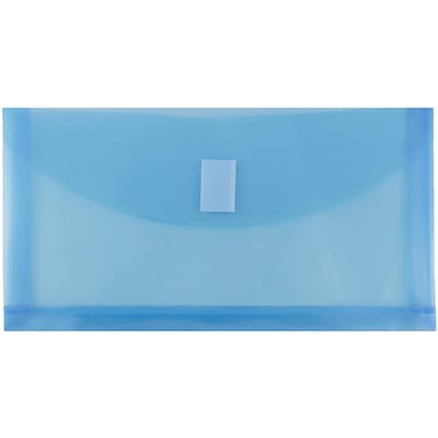 JAM Paper® #10 Plastic Envelopes with Hook & Loop Closure, 1 Expansion, 5.25 x 10, Blue Poly, 108/pack (921V1BUB)