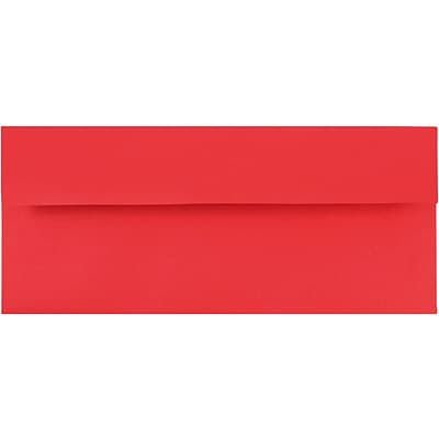 JAM Paper® #10 Business Envelopes, 4 1/8 x 9 1/2, Brite Hue Red Recycled, 1000/carton (67161B)