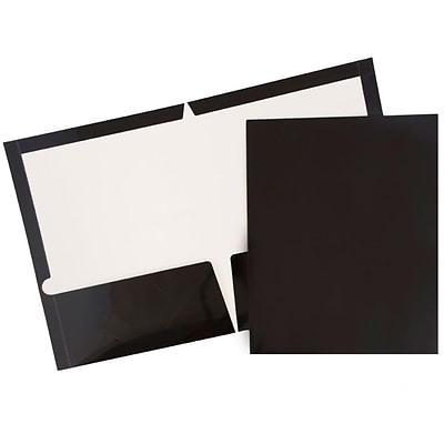 JAM Paper® Glossy Two Pocket Presentation Folders, Black, 6/pack (385GBLA)