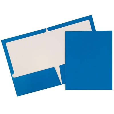 JAM Paper® Glossy Two Pocket Presentation Folders, Blue, 50/box (385GBUC)