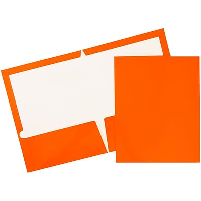 JAM Paper® 2 Pocket Laminated Glossy Presentation Folders, Orange, 25/Pack (385GORD)