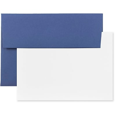 JAM Paper® Stationery Set, 25 White Cards and 25 A6 Envelopes, Presidential Blue, set of 25 (304624619)