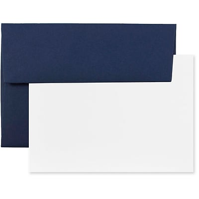 JAM Paper® Blank Greeting Cards Set, 4Bar A1 Size, 3.625 x 5.125, Navy Blue, 25/Pack (304624613)