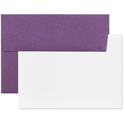 JAM Paper® Stationery Set, 25 White Cards and 25 A2 Envelopes, Dark Purple, set of 25 (304624606)