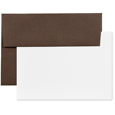 JAM Paper® Recycled Stationery Set, 25 White Cards and 25 A6 Envelopes, Chocolate Brown, set of 25 (304624595)