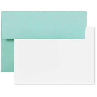 JAM Paper® Blank Greeting Cards Set, A2 Size, 4.375 x 5.75, Aqua Blue, 25/Pack (304624574)