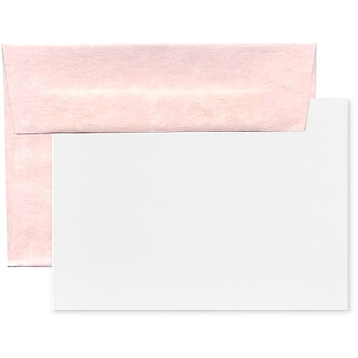 JAM Paper® Recycled Parchment Stationery Set, 25 Cards and 25 A2 Envelopes, Pink, set of 25 (304624566)