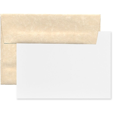 JAM Paper® Recycled Parchment Stationery Set, 25 Cards and 25 4bar A1 Envelopes, Natural, set of 25 (304624557)