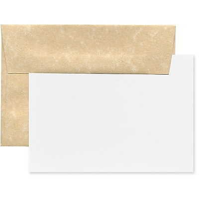 JAM Paper® Blank Greeting Cards Set, 4Bar A1 Size, 3.625 x 5.125, Parchment Brown Recycled, 25/Pack (304624549)