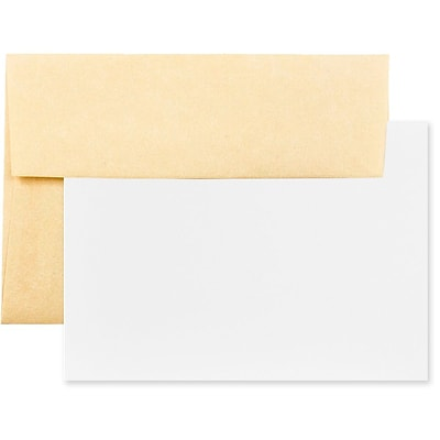 JAM Paper® Recycled Parchment Stationery Set, 25 Cards and 25 4bar A1 Envelopes, Antique Gold Yellow, set of 25 (304624541)