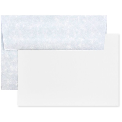 JAM Paper® Recycled Parchment Stationery Set, 25 Cards and 25 A2 Envelopes, Blue, set of 25 (304624546)