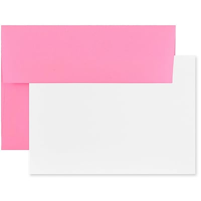 JAM Paper® Blank Greeting Cards Set, A7 Size, 5.25 x 7.25, Ultra Pink, 25/Pack (304624532)