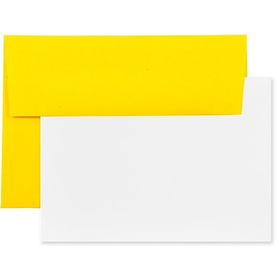 JAM Paper® Recycled Stationery Set, 25 White Cards and 25 A6 Envelopes, Brite Hue Yellow, set of 25 (304624539)