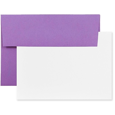 JAM Paper® Recycled Stationery Set, 25 White Cards and 25 A2 Envelopes, Brite Hue Violet Purple, set of 25 (304624534)