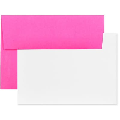 JAM Paper® Stationery Set, 25 White Cards and 25 A6 Envelopes, Brite Hue Ultra Fuchsia Pink, set of 25 (304624507)