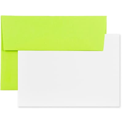 JAM Paper® Stationery Set, 25 White Cards and 25 A7 Envelopes, Brite Hue Ultra Lime Green, set of 25 (304624516)