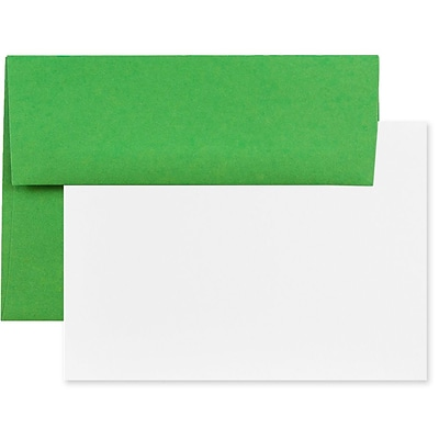 JAM Paper® Recycled Stationery Set, 25 White Cards and 25 A7 Envelopes, Brite Hue Green, set of 25 (304624512)