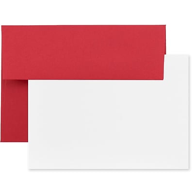 JAM Paper® Recycled Stationery Set, 25 Cards and 25 4bar A1 Envelopes, Brite Hue Red, set of 25 (304624521)