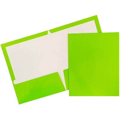 JAM Paper® 2 Pocket Laminated Glossy Presentation Folders, Lime Green, 25/Pack (385GLID)