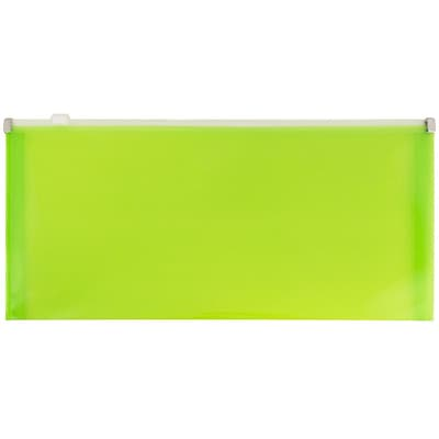 JAM Paper® #10 Plastic Envelopes with Zip Closure, 5 x 10, Lime Green Poly, 12/pack (921Z1LI)