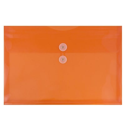 JAM Paper® Plastic Envelopes with Button and String Tie Closure, Legal Booklet, 9.75 x 14.5, Orange Poly, 12/pack (219B1OR)