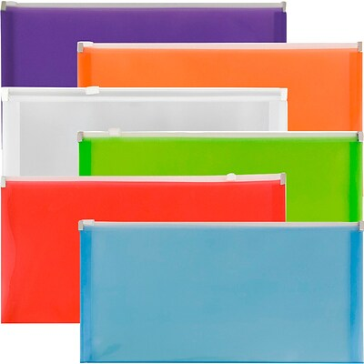 JAM Paper® #10 Plastic Envelopes with Zip Closure, 5 x 10, Assorted Poly Colors, 6/pack (921Z1RBGOPCL)