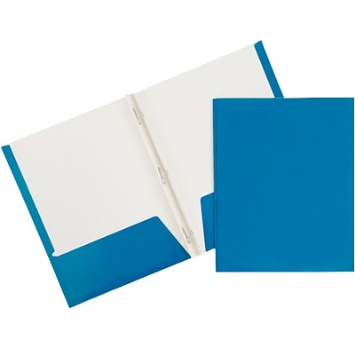 JAM Paper® 2 Pocket Laminated Glossy School Folders with Tang Fastener Clips, Blue, 25/Pack (385GCBUD)